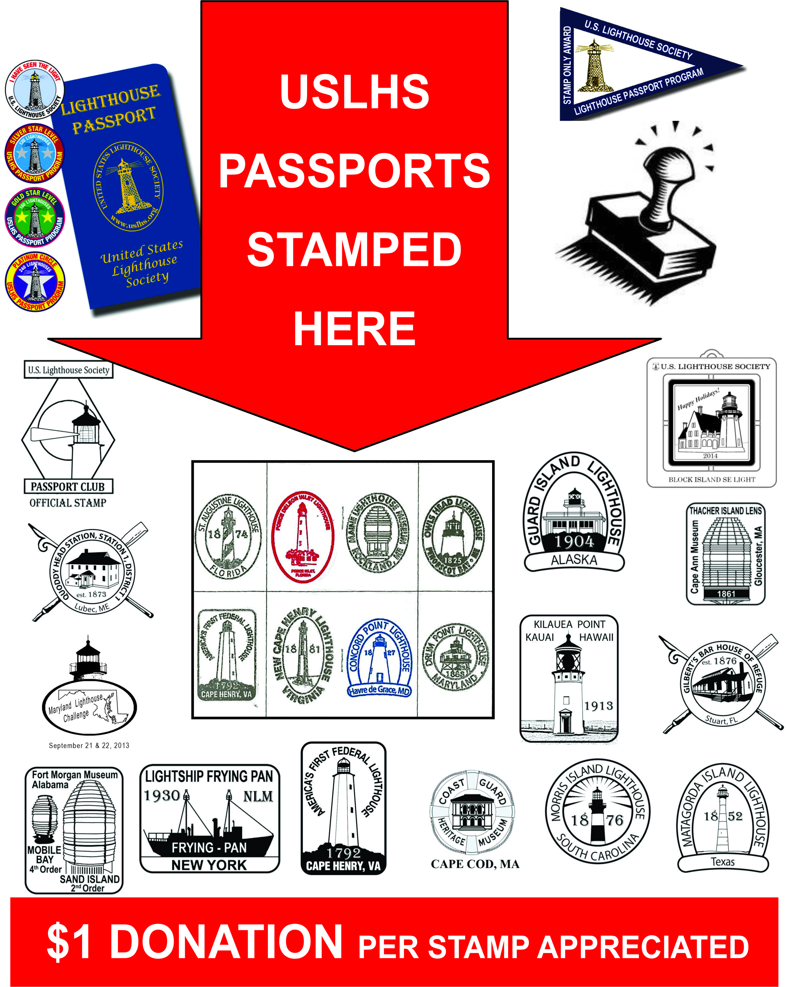 Lighthouse passport stamps